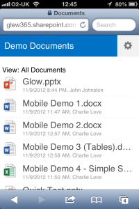 Our Document Library for Testing in Mobile view on iOS/iPhone