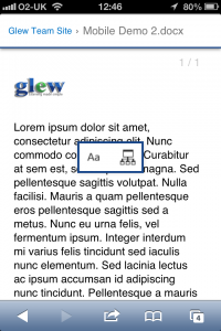 A Word Document viewed on iPhone - the navigation/text size adjust menu is shown.