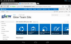 Our Team Site on Google Nexus in PC view