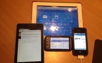 Apple iPad 2 (iOS 6.01), Google Nexus 7 (Android 4.1.2 Jellybean), iPhone 4S (iOS 6.01), HTC Desire (Android 2.3.3 Gingerbread)
