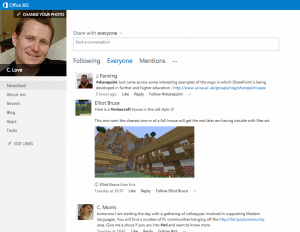 The Newsfeed in Glow Office 365
